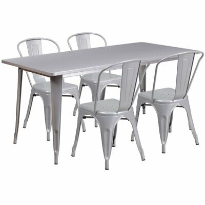 Flash Furniture 5 Piece Metal Dining Set in Silver
