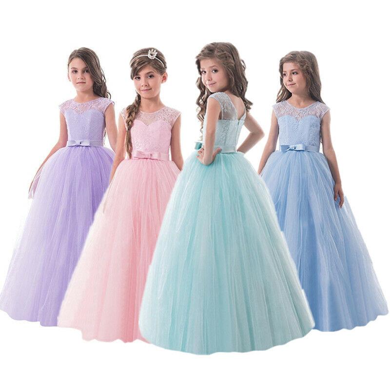Girls Lace Long Dress Chiffon Pageant Wedding Bridesmaid Flower Kid Maxi Dresses