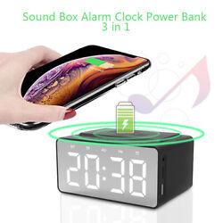 LED HD Bluetooth 5.0 Speaker Sound Box Alarm Clock Wireless Charging Power Bank