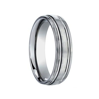 Titanium Wedding band Ring Men's Benchmark Size 10 with Dual Offset Grooves Benchmark Titanium Wedding Ring
