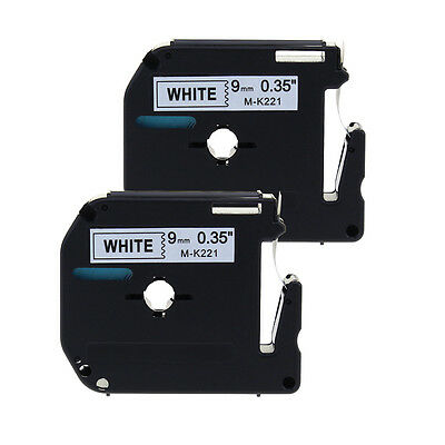 2pk Compatible For Brother P-touch Label M-k221 9mm White Tape Pt90 Pt80 Mk221