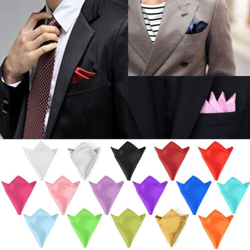 Fashion Men Silk Satin Pocket Square Hankerchief Plain Solid Color Wedding Party
