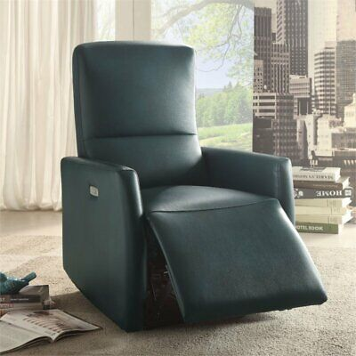 Bowery Hill Leather Aire Power Motion Recliner in Blue