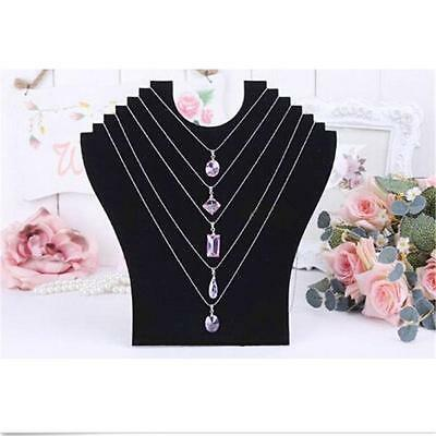 Necklace Black Bust Jewelry Pendant Display Holder Stand Neck Velvet Easel Gs