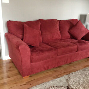 Moving Sale: Microsuede meroon sofa and love seat for sale
