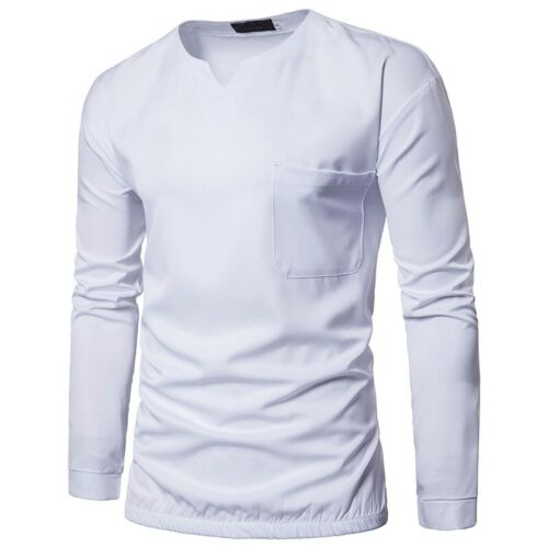 Men/'s Casual Basic Tees Long sleeve Splice T-Shirt Crew Neck Pullover Leisure B
