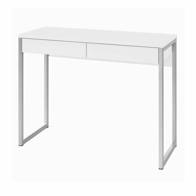 Tvilum Aurora 2 Drawer Computer Desk in White High Gloss