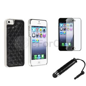 For iPhone 4 4S 5G PU Leather Silver Chrome Back Hard Case Cover+Film Guard+Pen