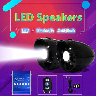 Motorcycle Anti Theft Led Lamp Speakers Usb Audio System Stereo Bluetooth Fm