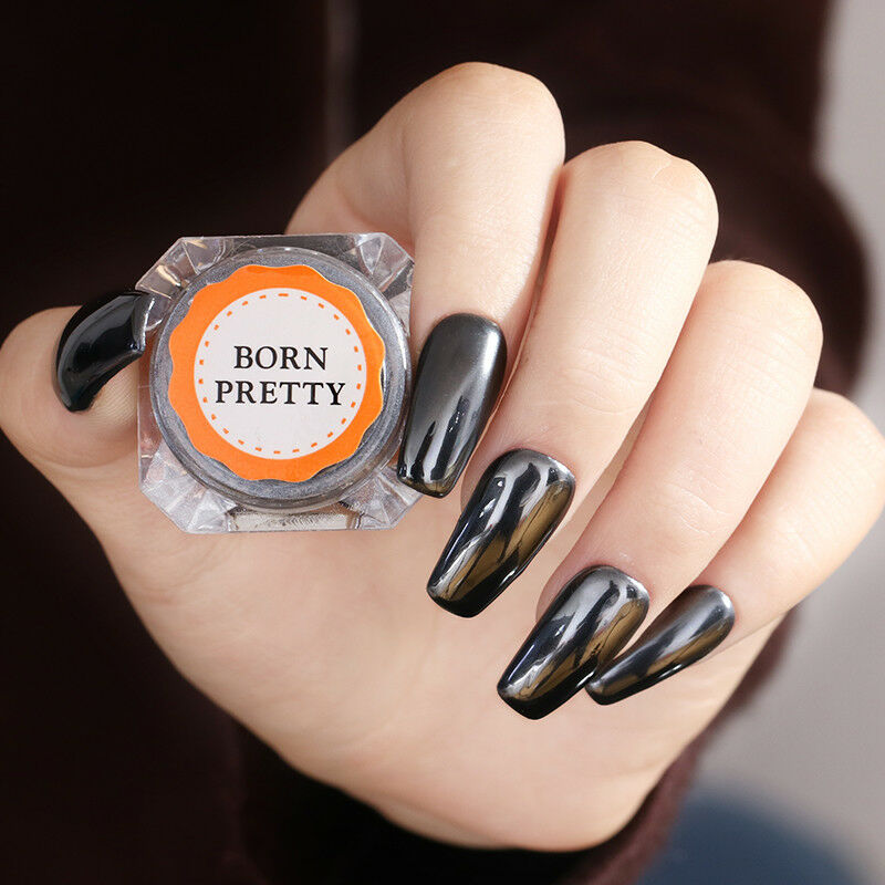 0.5G Mirror Black Nail Powder Born Pretty Nail Art Chrome Pigment Glitter Dust