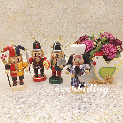 "4pcs 3.9"" Wooden Nutcracker Soldiers Kitchener Figurine Christmas Tree Ornament"