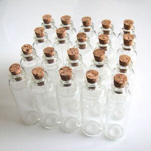 5ml Wholesale Lots 20Pcs Small Empty Clear Cork Glass Bottles Vials 16x50mm