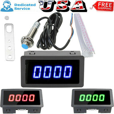 4 Digital Tachometer Rpm Speed Meter Bracket Magnet Proximity Switch Sensor