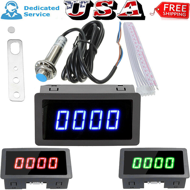 4 Digital Tachometer RPM Speed Meter + Bracket & Magnet Proximity Switch Sensor
