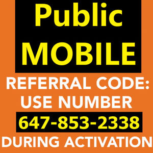$10 Referral Public mobile, PLUS Free Sim, PLUS Free month