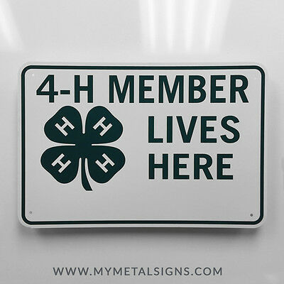 18 Inch 4-H Member Lives Here Flat Metal Tin Tacker Sign