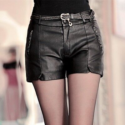 Ladies Black Leather Shorts (Womens Ladies Real Sheep Leather Pants Low Waist Punk Shorts Black Size)