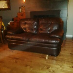 2 seater brown leatherette material sofa couch