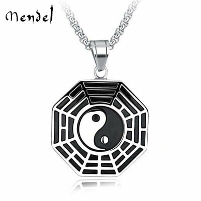 MENDEL Chinese Tai Chi Yin Yang Pendant Necklace For Men Stainless Steel Jewelry