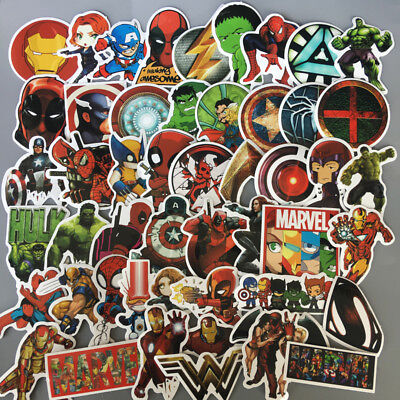 50 Pcs/Lot Stickers MARVEL Avengers Super Hero DC For Car Laptop Skatboard Decal](Marvel Stickers)
