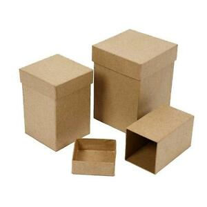 3-Tall-Square-Shaped-Boxes-Craft-Storage-Brown-Paper-Mache-Decorate-Hand-Made
