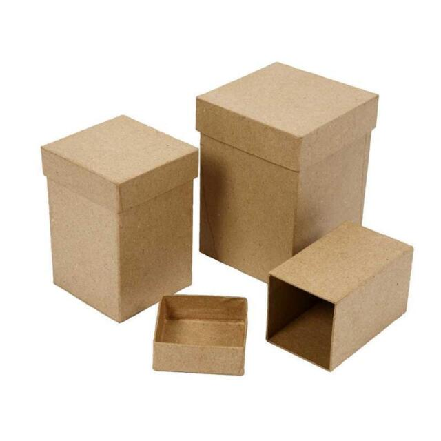 3 Tall Square Shaped Boxes Craft Storage Brown Paper Mache Decorate Hand Made