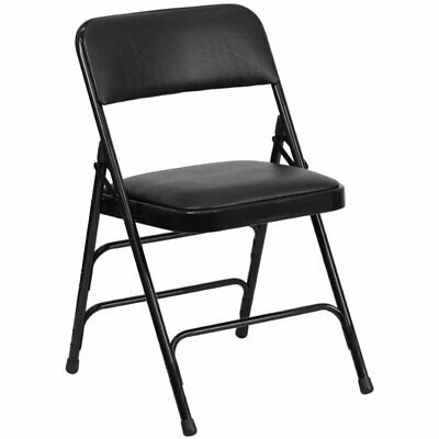 Flash Furniture Hercules Faux Leather Padded Metal Folding Chair In Black