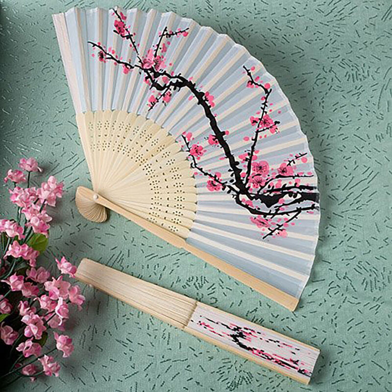 Unqiue Chinese Folding Hand Fan Japanese Cherry Blossom Design Silk Costume_ ZP