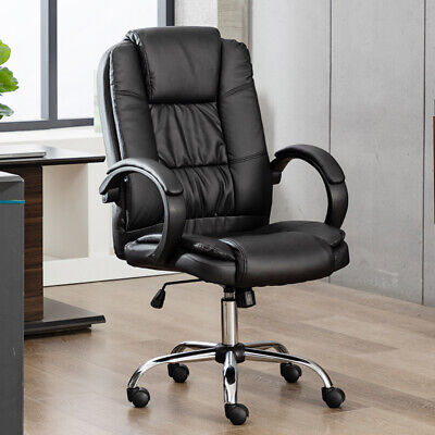 Computer Office Desk Chair Black Pu Leather Swivel Ergonomic High Back Task Seat