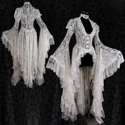 Frauen Barock Weinlese Spitze Kleid Viktorianisches Ballkleid Kostüm (Weiße Spitze Kostüm)