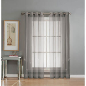 Sheer Diamond Sheer Voile Gray Grommet Extra Wide Curtain (2pcs)