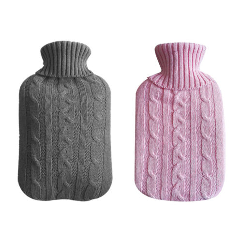2000ml HOT WATER BOTTLE Warm Rubber Bag Knitted Cover Remova