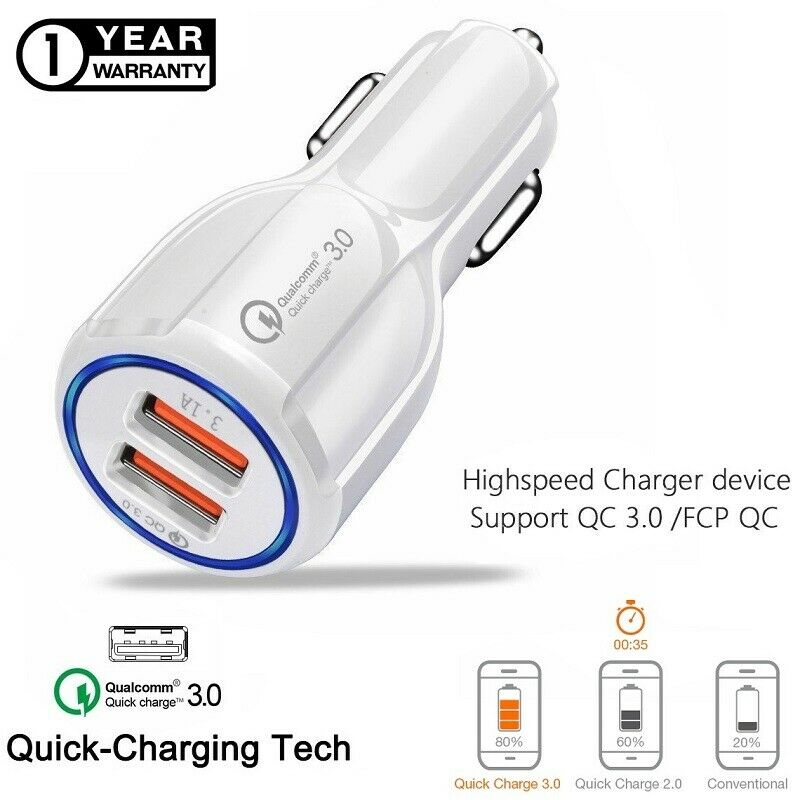 6//6.1 7//7 Plus Dual Port Car Adaptor USB Compatible with Nokia 3 Quick Charge 3.0 Car Charger Qualcomm 5 Fast Charging Adapter 8 Phone
