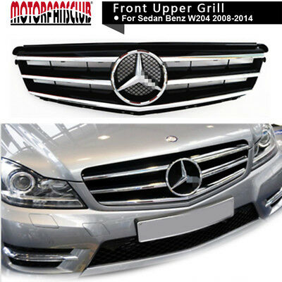 New For 08-14 Mercedes Benz C-Class w204 Grille Grill Black Radiator AMG Style