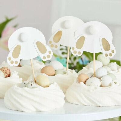 6 x Osterhasen Cupcake Muffin Topper Gold I Osterdeko Kuchendeko Hase Ostern