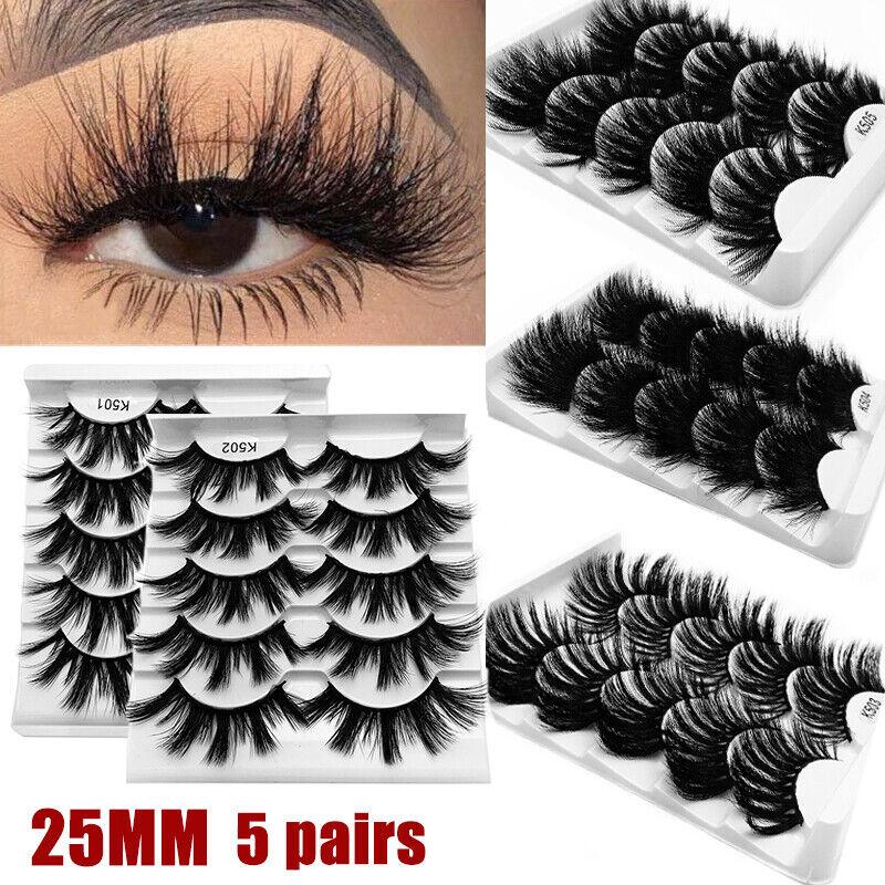 5 Pairs 25mm 3D Mink Hair Eyelashes Fluffy Natural Long Full