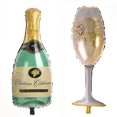 Champagne Bottle Glass Foil Balloons Happy Birthday & Wedding Party Decor - Happy Birthday P