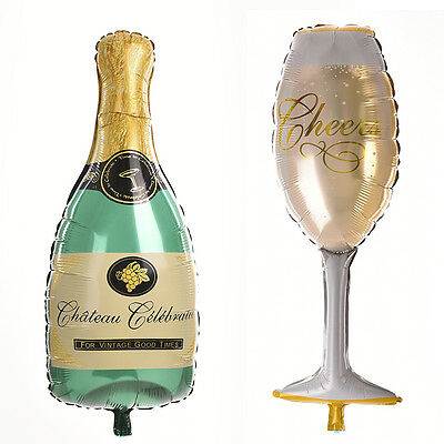 Champagne Bottle Glass Foil Balloons Happy Birthday Wedding Party Decor Gi