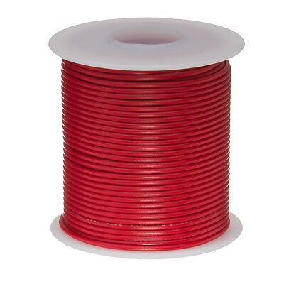 "24 AWG Gauge Stranded Hook Up Wire Red 100 ft 0.0201"" UL1007 300 Volts"