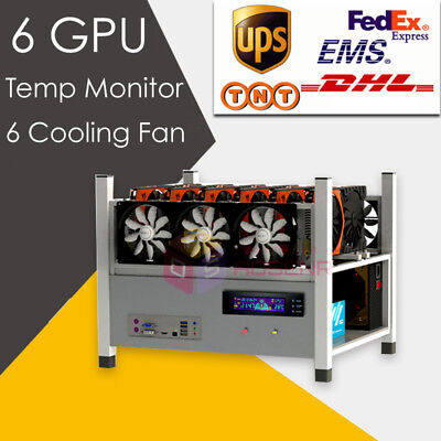 6 GPU Open Air Mining Case Computer ETH Miner Frame Rig 6x Fan & Temp Monitor
