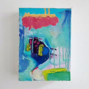 Small Abstract Painting, Original, Oil on Canvas on Panel