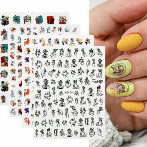 3D Nail Art Stickers Sexy Girl Face Image Self Adhesive Transfer Decals Foils
