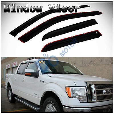 - 4pcs Smoke Sun/Rain Guard Vent Shade Window Visors Fit 09-14 Ford F150 Crew Cab