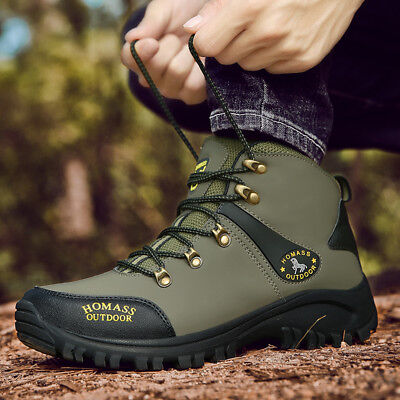 Athletic Waterproof Hiking Boots - MENS LEATHER WATERPROOF 15% WALKING HIKING ANKLE BOOTS SPORTS ATHLETIC SHOES