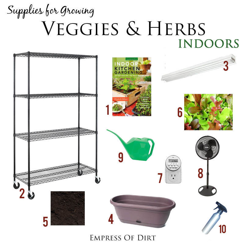 Basic supplies for year-round indoor food growing