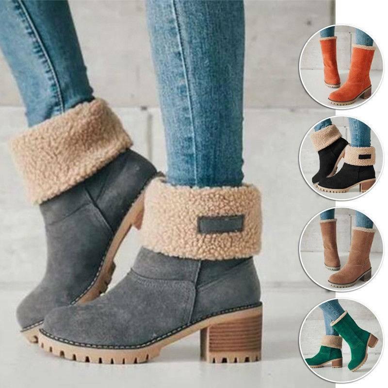 Damen Stiefeletten Schlupf Stiefel Blockabsatz Boots Winter Pelzgefüttert Schuhe