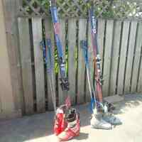 Free! 2 sets of used vintage skis, boots, and poles