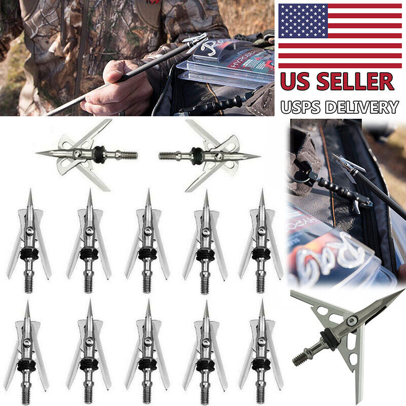 "12/24/36Pcs Archery Hypodermic Broadheads 2 Blade 2"" Dia Expandable Arrowheads"
