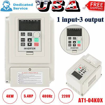Ac220v 4kw 5.4hp Variable Frequency Drive Inverter Vfd For 3-phase Ac Motor Us