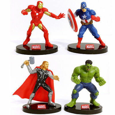 4 x MARVEL AVENGERS IRON MAN HULK THOR ACTION FIGURES CAKE TOPPER DECOR KIDS TOY